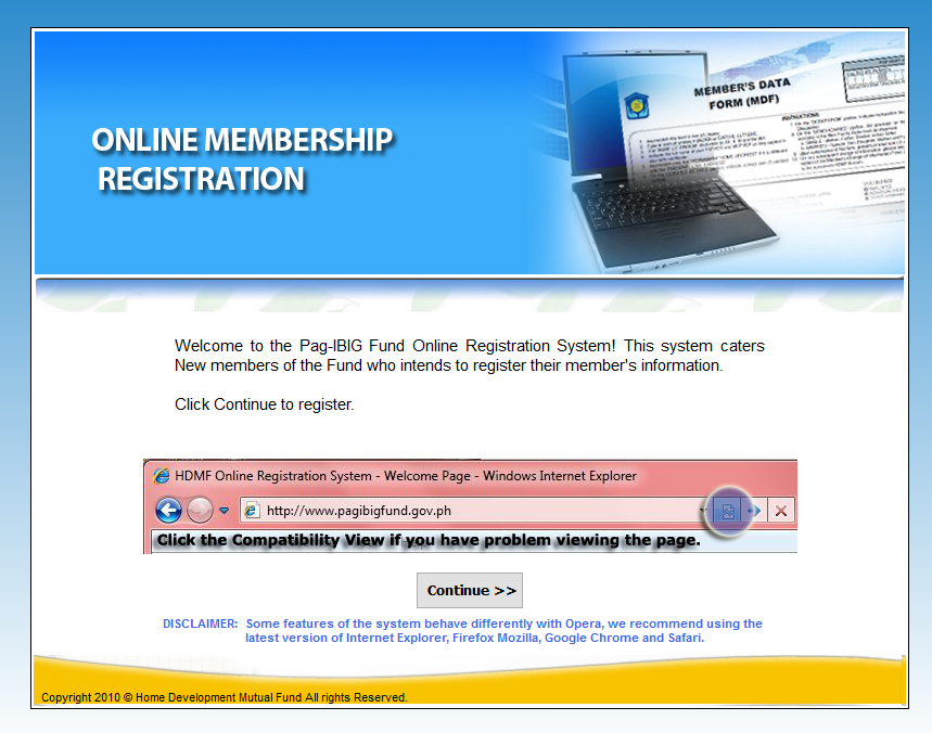 Pag-IBIG Registration page