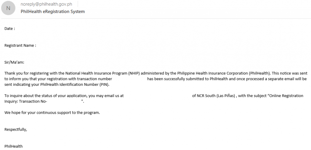 PhilHealth Number E-mail