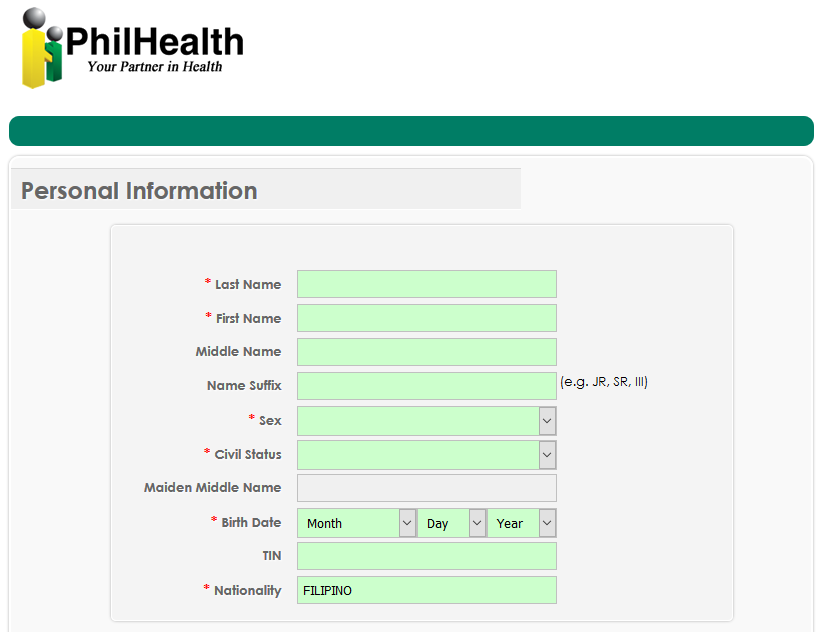 PhilHealth Online Application Form