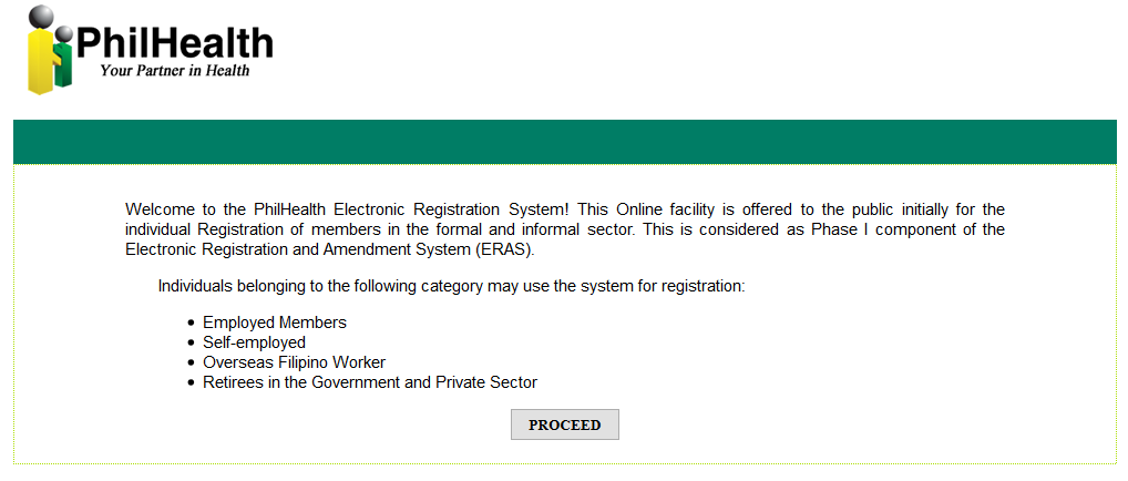 PhilHealth Registration Page