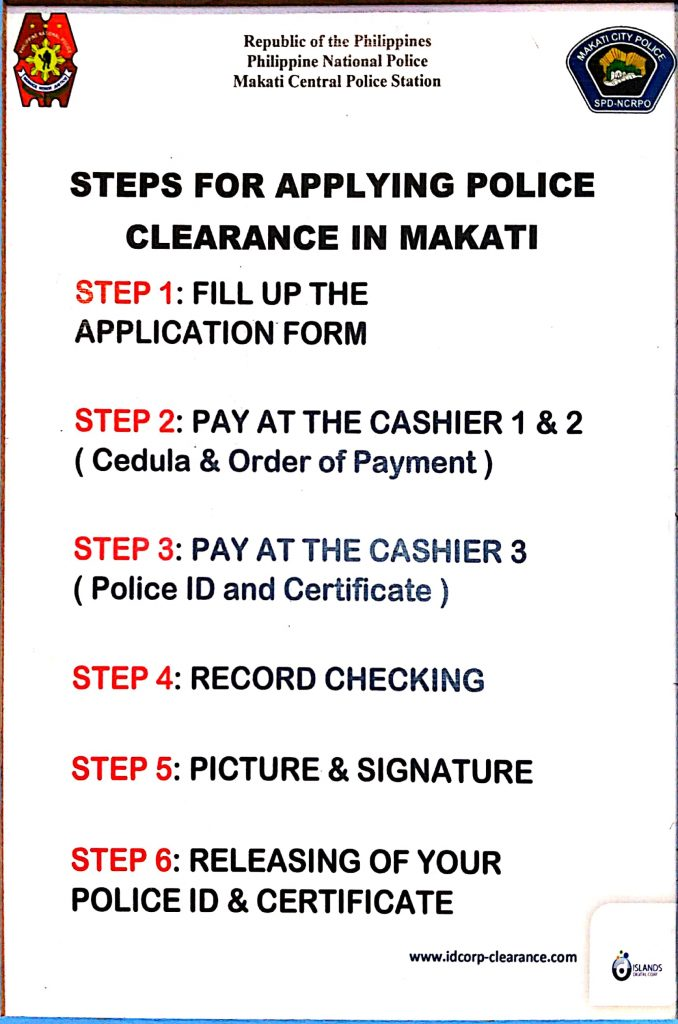 Steps to applying for a Police Clearance in Makati