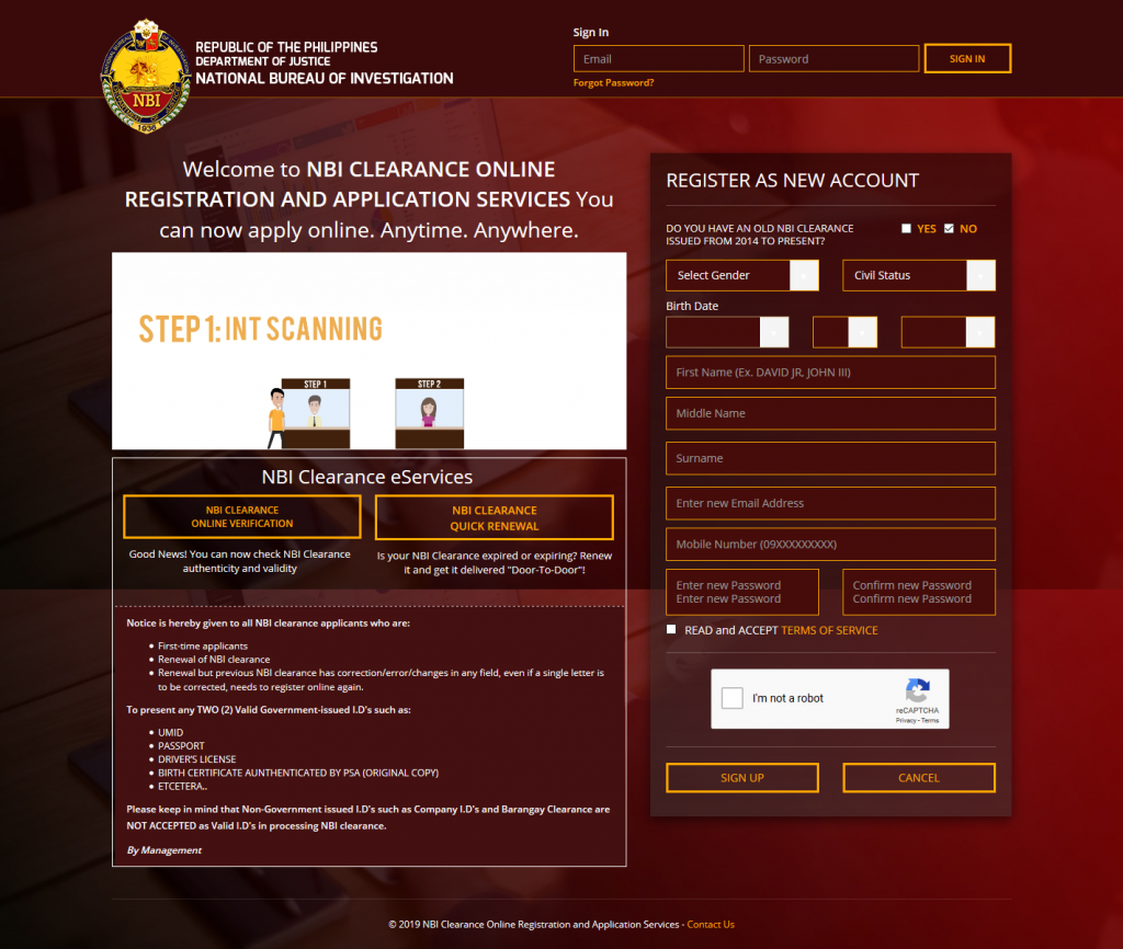 Home Page of NBI Clearance