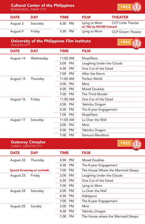 Eigasai 2019 Screening Schedule at CCP, UP, Gateway