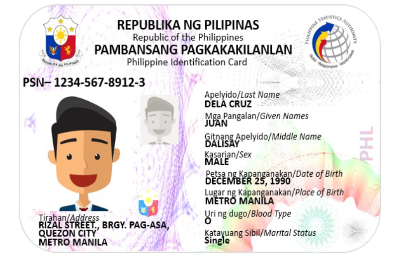 National ID (Phil ID) Front View